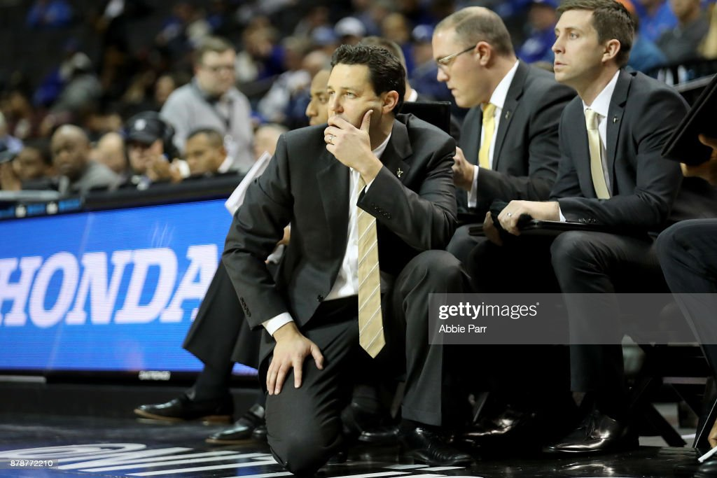 Head coach Bryce Drew of the Vanderbilt Commodores reacts during the second half against the Seton Hall Pirates during their NIT Season Tip Off tournament game at Barclays Center on November 24, 2017 in the Brooklyn brough of New York City.