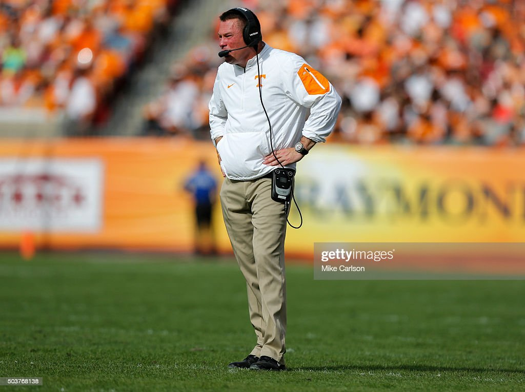 Head coach <a gi-track='captionPersonalityLinkClicked' href=/galleries/search?phrase=Butch+Jones&family=editorial&specificpeople=4501034 ng-click='$event.stopPropagation()'>Butch Jones</a> against the Northwestern Wildcats during the Outback Bowl at Raymond James Stadium on January 1, 2016 in Tampa, Florida.