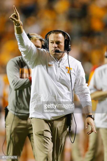 Head coach Butch Jones of the Tennessee Volunteers celebrates a touchdown against the Southern Miss Golden Eagles during the first half at Neyland...