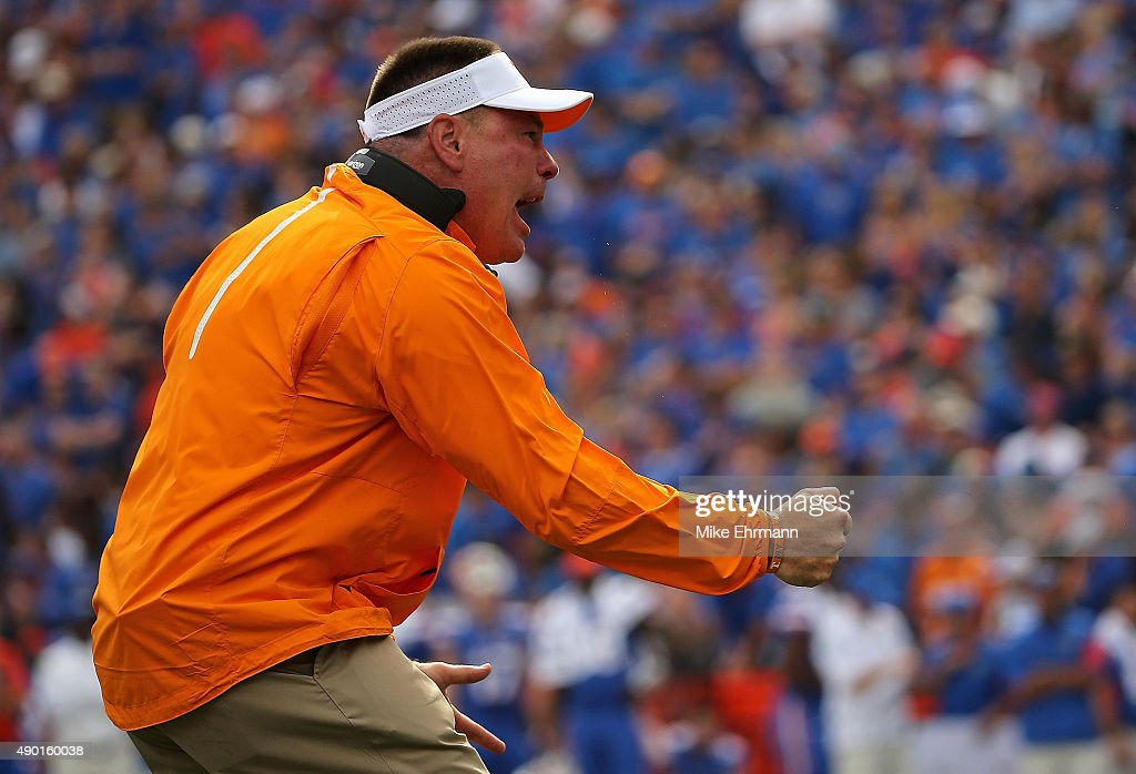 Head coach <a gi-track='captionPersonalityLinkClicked' href=/galleries/search?phrase=Butch+Jones&family=editorial&specificpeople=4501034 ng-click='$event.stopPropagation()'>Butch Jones</a> of the Tennessee Volunteers cheers during a game against the Florida Gators at Ben Hill Griffin Stadium on September 26, 2015 in Gainesville, Florida.