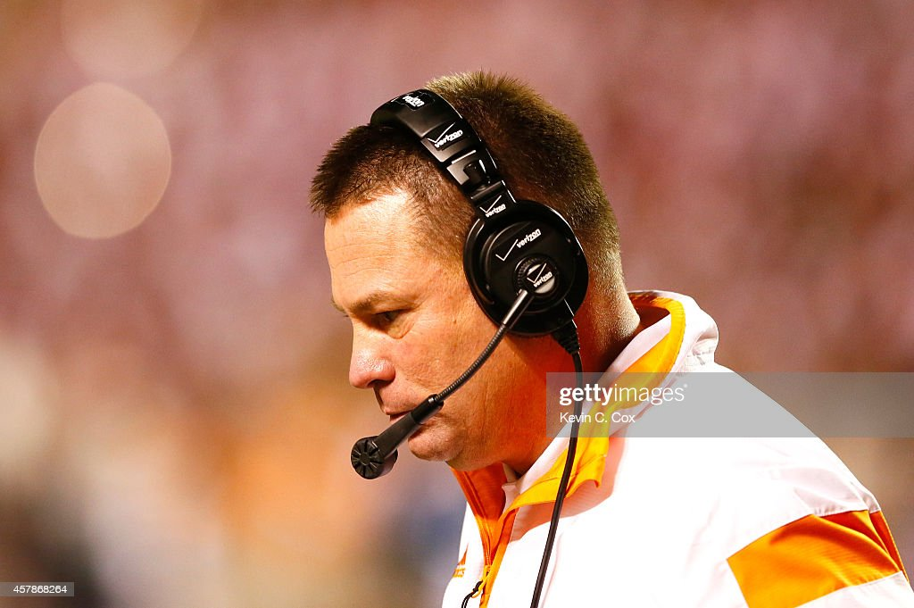 Head coach <a gi-track='captionPersonalityLinkClicked' href=/galleries/search?phrase=Butch+Jones&family=editorial&specificpeople=4501034 ng-click='$event.stopPropagation()'>Butch Jones</a> of the Tennessee Volunteers looks on during the game against the Alabama Crimson Tide at Neyland Stadium on October 25, 2014 in Knoxville, Tennessee.
