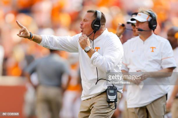 Head coach Butch Jones of the Tennessee Volunteers reacts against the South Carolina Gamecocks during the second half at Neyland Stadium on October...