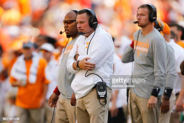 Head coach Butch Jones of the Tennessee Volunteers reacts against the against the South Carolina Gamecocks at Neyland Stadium on October 14 2017 in...
