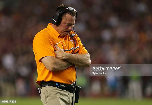Head coach Butch Jones of the Tennessee Volunteers reacts during their game against the South Carolina Gamecocks at WilliamsBrice Stadium on October...