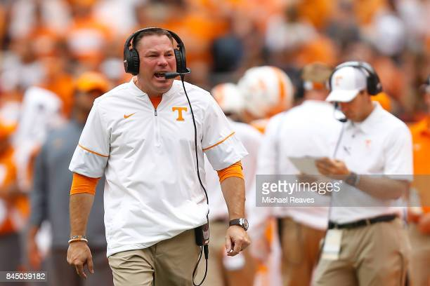 Head coach Butch Jones of the Tennessee Volunteers reacts during the second half of the game against the Indiana State Sycamores at Neyland Stadium...
