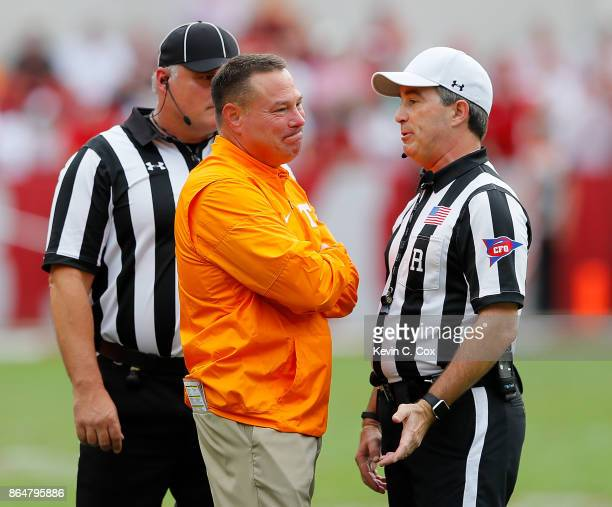 Head coach Butch Jones of the Tennessee Volunteers reacts to the officials during the game against the Alabama Crimson Tide at BryantDenny Stadium on...