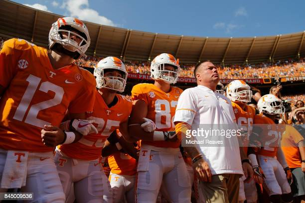 Head coach Butch Jones of the Tennessee Volunteers waits to lead his team on to the field prior to the game against the Indiana State Sycamores at...