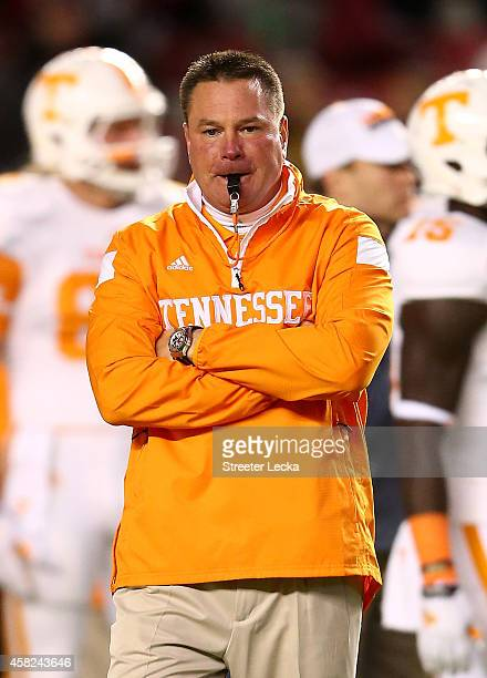 Head coach Butch Jones of the Tennessee Volunteers watches on before their game against the South Carolina Gamecocks at WilliamsBrice Stadium on...