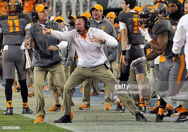 Head coach Butch Jones of the University of Tennessee Volunteers reacts on the sideline during the second half of a game against the Nebraska...