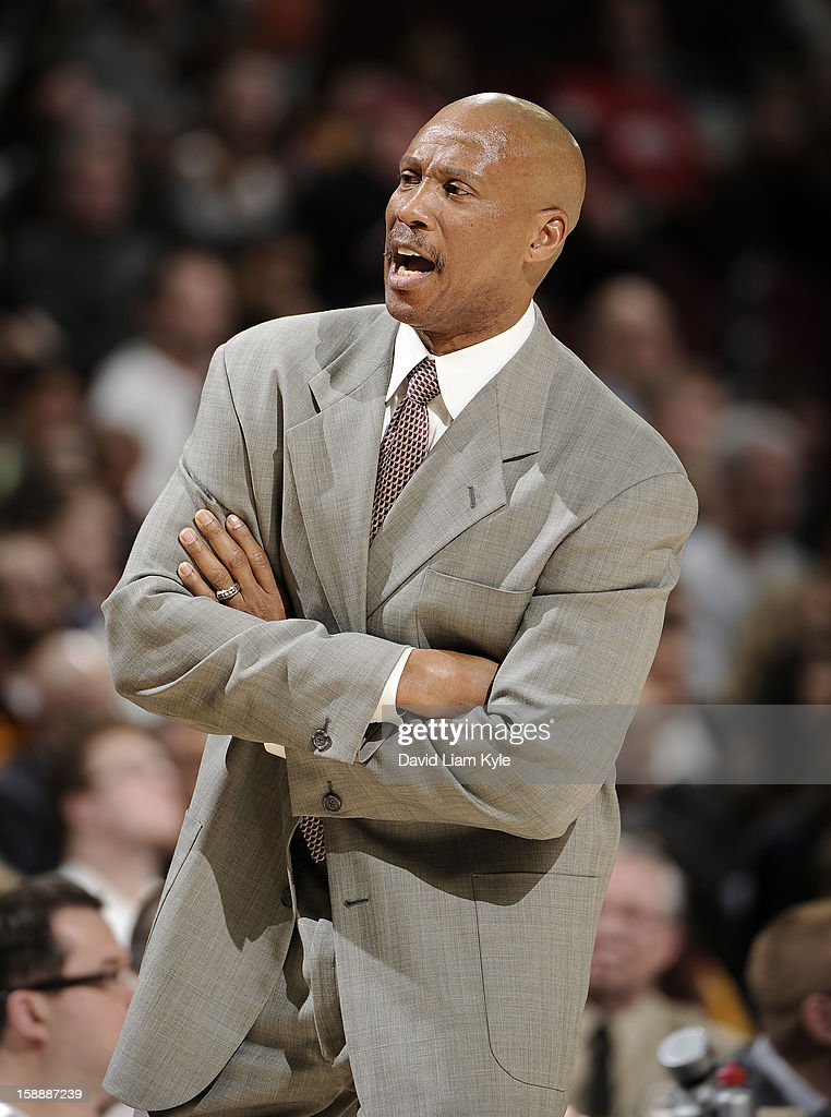 Head coach <a gi-track='captionPersonalityLinkClicked' href=/galleries/search?phrase=Byron+Scott+-+Treinador+de+basquetebol&family=editorial&specificpeople=209087 ng-click='$event.stopPropagation()'>Byron Scott</a> of the Cleveland Cavaliers reacts during the game against the Sacramento Kings at The Quicken Loans Arena on January 2, 2013 in Cleveland, Ohio.