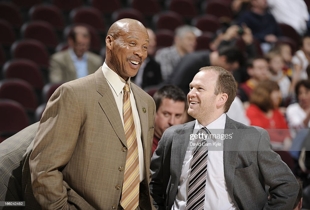 Head coach <a gi-track='captionPersonalityLinkClicked' href=/galleries/search?phrase=Byron+Scott+-+Basketball+Coach&family=editorial&specificpeople=209087 ng-click='$event.stopPropagation()'>Byron Scott</a> of the Cleveland Cavaliers shares a laugh with head coach <a gi-track='captionPersonalityLinkClicked' href=/galleries/search?phrase=Lawrence+Frank&family=editorial&specificpeople=208918 ng-click='$event.stopPropagation()'>Lawrence Frank</a> of the Detroit Pistons prior to the game at The Quicken Loans Arena on April 10, 2013 in Cleveland, Ohio.