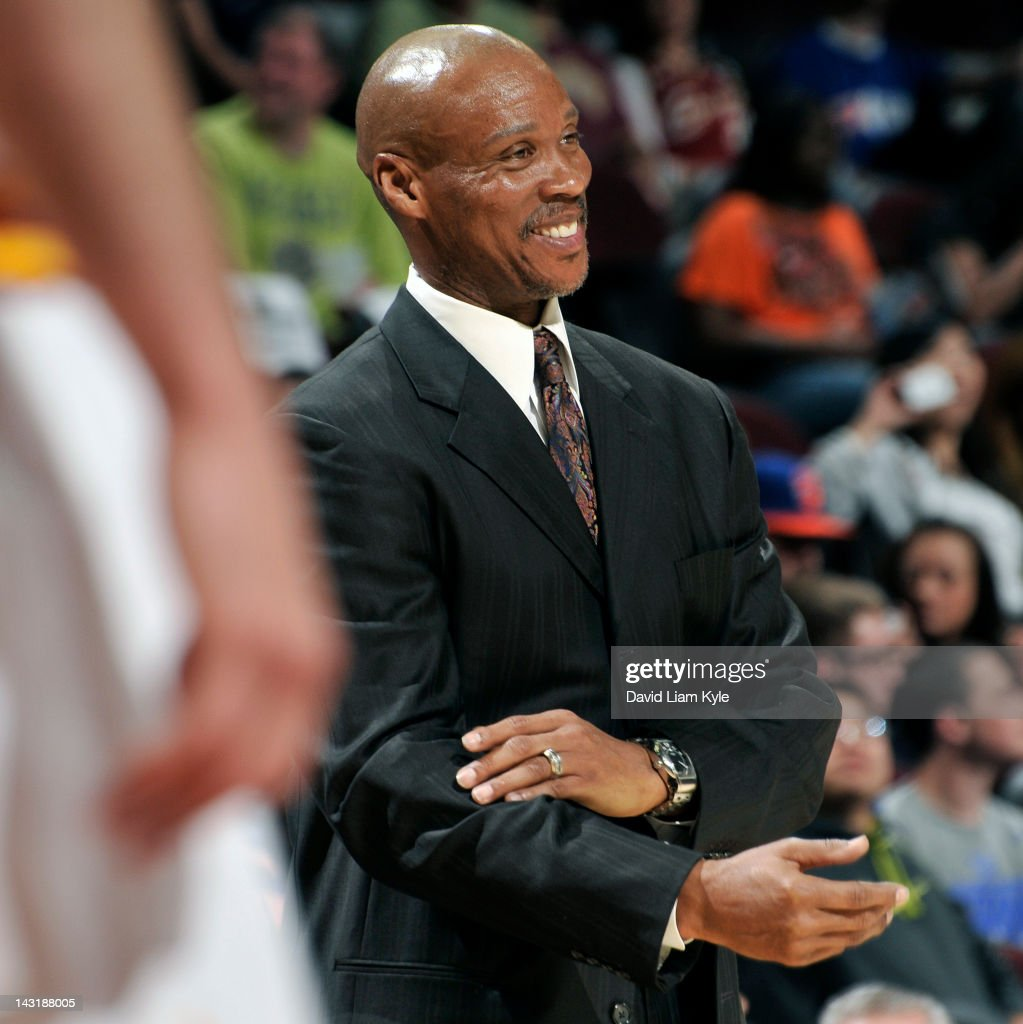 Head coach <a gi-track='captionPersonalityLinkClicked' href=/galleries/search?phrase=Byron+Scott+-+Basketball+Coach&family=editorial&specificpeople=209087 ng-click='$event.stopPropagation()'>Byron Scott</a> of the Cleveland Cavaliers smiles at the conclusion of their victory over the New York Knicks at The Quicken Loans Arena on April 20, 2012 in Cleveland, Ohio.