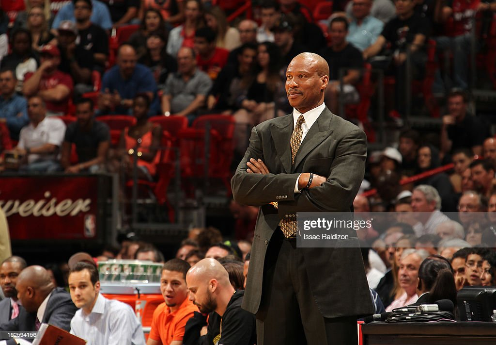 Head Coach <a gi-track='captionPersonalityLinkClicked' href=/galleries/search?phrase=Byron+Scott+-+Basketbalcoach&family=editorial&specificpeople=209087 ng-click='$event.stopPropagation()'>Byron Scott</a> of the Cleveland Cavaliers smiles during a game between the Cleveland Cavaliers and the Miami Heat on February 24, 2013 at American Airlines Arena in Miami, Florida.