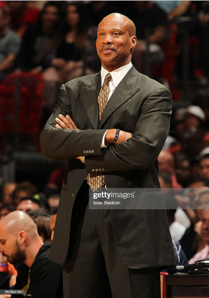 Head Coach <a gi-track='captionPersonalityLinkClicked' href=/galleries/search?phrase=Byron+Scott+-+Basketball+Coach&family=editorial&specificpeople=209087 ng-click='$event.stopPropagation()'>Byron Scott</a> of the Cleveland Cavaliers smiles during a game between the Cleveland Cavaliers and the Miami Heat on February 24, 2013 at American Airlines Arena in Miami, Florida.
