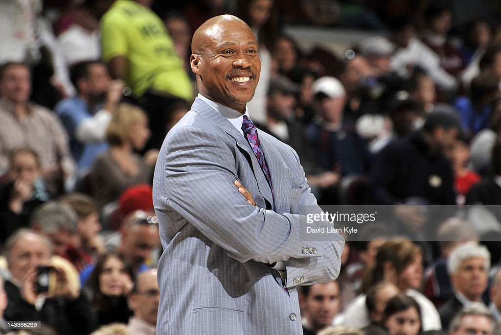 Head coach <a gi-track='captionPersonalityLinkClicked' href=/galleries/search?phrase=Byron+Scott+-+Treinador+de+basquetebol&family=editorial&specificpeople=209087 ng-click='$event.stopPropagation()'>Byron Scott</a> of the Cleveland Cavaliers smiles wide during a break in the action against the Washington Wizards at The Quicken Loans Arena on April 25, 2012 in Cleveland, Ohio.