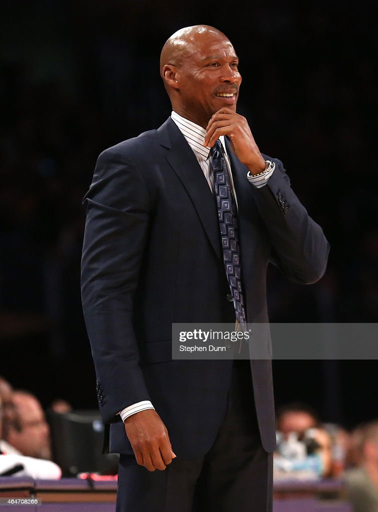Head coach <a gi-track='captionPersonalityLinkClicked' href=/galleries/search?phrase=Byron+Scott+-+Basketbalcoach&family=editorial&specificpeople=209087 ng-click='$event.stopPropagation()'>Byron Scott</a> of the Los Angeles Lakers reacts during the game against the Milwaukee Bucks at Staples Center on February 27, 2015 in Los Angeles, California. The Lakers won 101-93.