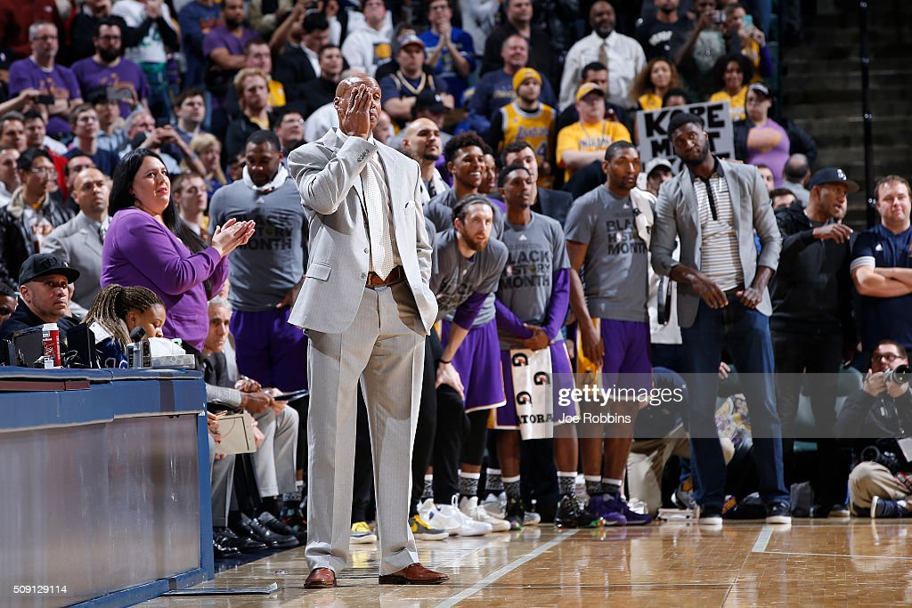 Head coach <a gi-track='captionPersonalityLinkClicked' href=/galleries/search?phrase=Byron+Scott+-+Basketbalcoach&family=editorial&specificpeople=209087 ng-click='$event.stopPropagation()'>Byron Scott</a> of the Los Angeles Lakers reacts in the second half of the game against the Indiana Pacers at Bankers Life Fieldhouse on February 8, 2016 in Indianapolis, Indiana. The Pacers defeated the Lakers 89-87.