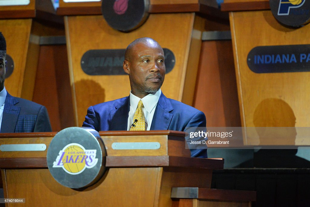 Head Coach <a gi-track='captionPersonalityLinkClicked' href=/galleries/search?phrase=Byron+Scott+-+Basketbalcoach&family=editorial&specificpeople=209087 ng-click='$event.stopPropagation()'>Byron Scott</a> of the Los Angeles Lakers represents during the 2015 NBA Draft Lottery on May 19, 2015 at the New York Hilton Midtown in New York City.