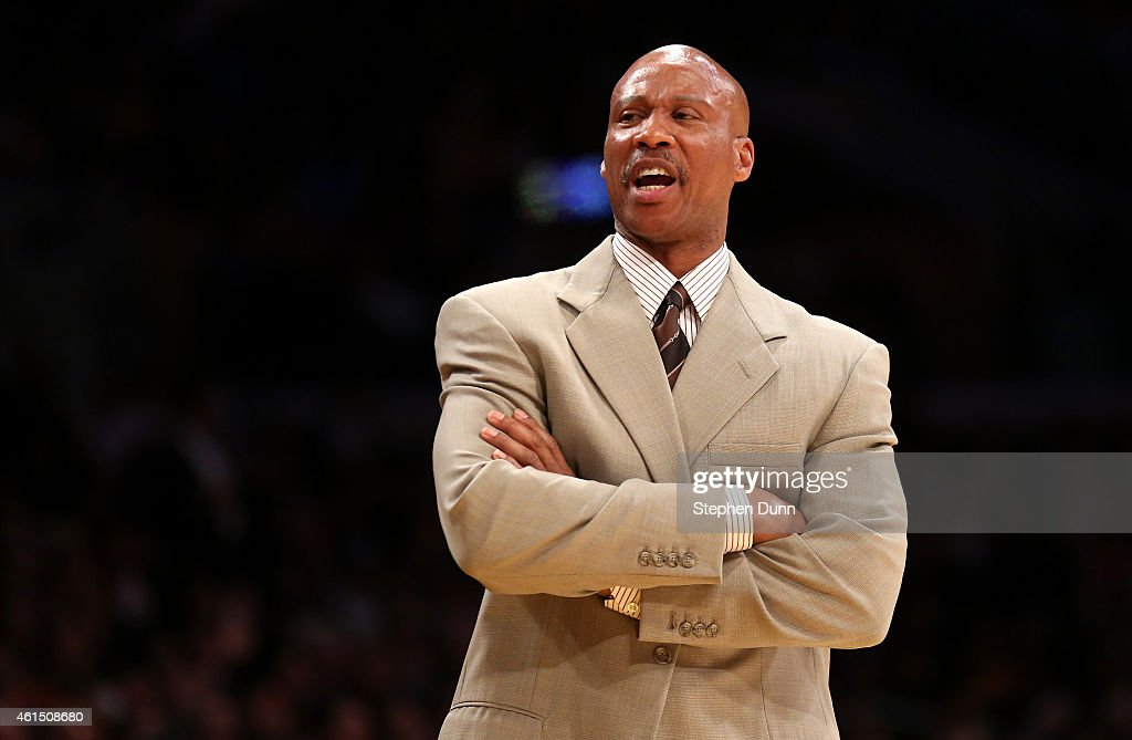 Head coach <a gi-track='captionPersonalityLinkClicked' href=/galleries/search?phrase=Byron+Scott+-+Basketbalcoach&family=editorial&specificpeople=209087 ng-click='$event.stopPropagation()'>Byron Scott</a> of the Los Angeles Lakers shouts during the game against the Miami Heat at Staples Center on January 13, 2015 in Los Angeles, California. The Heat won 78-75.