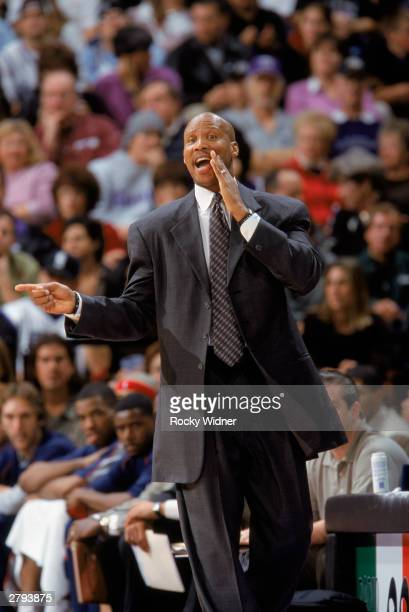 Head Coach Byron Scott of the New Jersey Nets yells to his team during the NBA game against the Sacramento Kings at Arco Arena on November 30 2003 in...