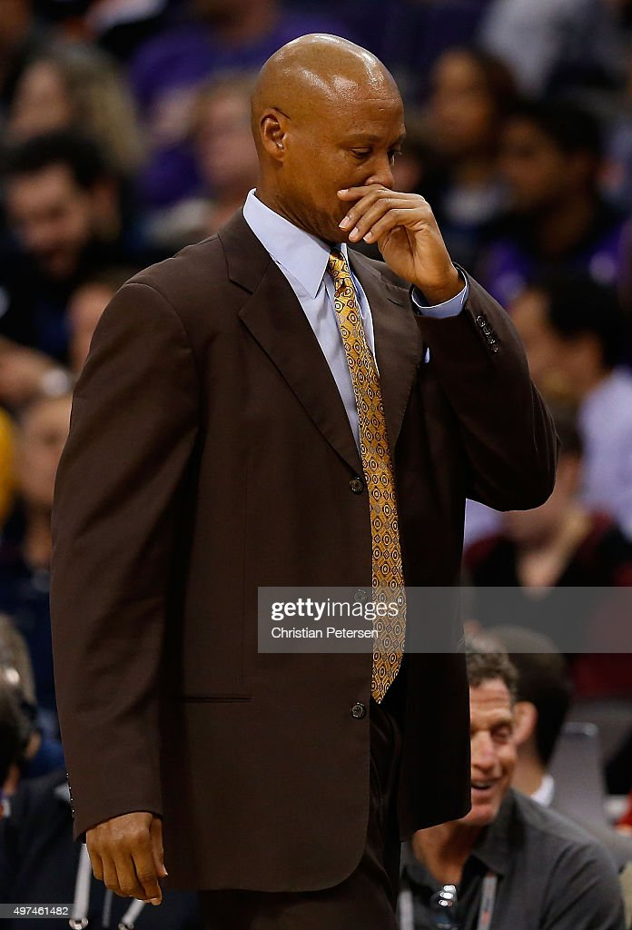 Head coach <a gi-track='captionPersonalityLinkClicked' href=/galleries/search?phrase=Byron+Scott+-+Basketball+Coach&family=editorial&specificpeople=209087 ng-click='$event.stopPropagation()'>Byron Scott</a> reacts on the bench during the NBA game against the Phoenix Suns at Talking Stick Resort Arena on November 16, 2015 in Phoenix, Arizona. The Suns defeated the Lakers 120-101.