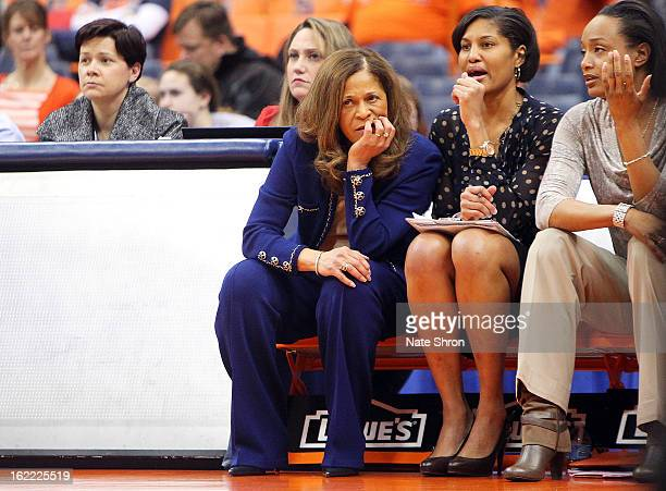 Head coach C Vivian Stringer looks on from the bench next to assistant coach Chelsea Newton and assistant coach Tia Jackson of the Rutgers Scarlet...