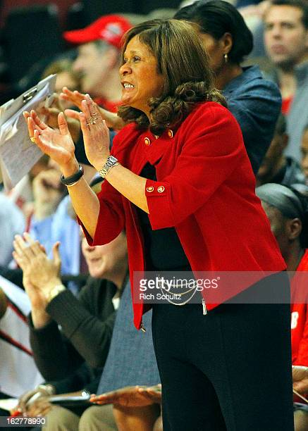 Head coach C Vivian Stringer of the Rutgers Scarlet Knights cheers on her team against the South Florida Bulls during the first half in a game at the...