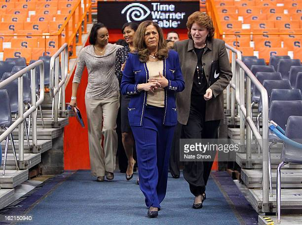 Head coach C Vivian Stringer of the Rutgers Scarlet Knights enters the court next to assistant to the head coach Betsy Yonkman prior to the game...
