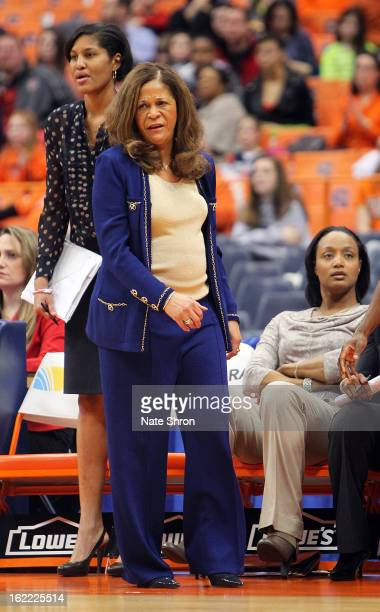 Head coach C Vivian Stringer of the Rutgers Scarlet Knights reacts as she looks on from the sideline during the game against the Syracuse Orange at...