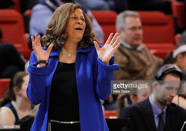 Head Coach C Vivian Stringer of the Rutgers Scarlet Knights reacts during the game against the St John's Red Storm at Carnesecca Arena on February 23...