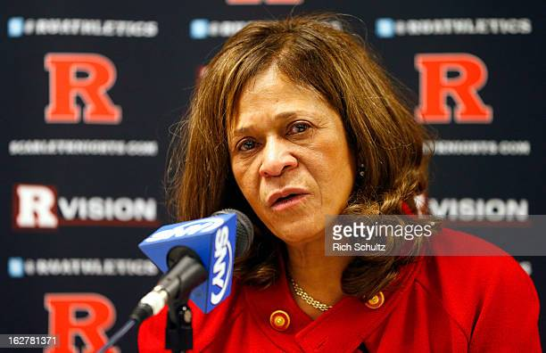 Head coach C Vivian Stringer of the Rutgers Scarlet Knights talks during her post game press conference after defeating the South Florida Bulls 6856...