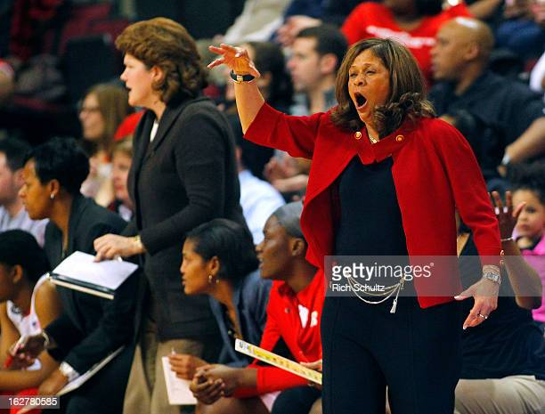 Head coach C Vivian Stringer of the Rutgers Scarlet Knights yells to her team during a game against the South Florida Bulls in a game at the Louis...