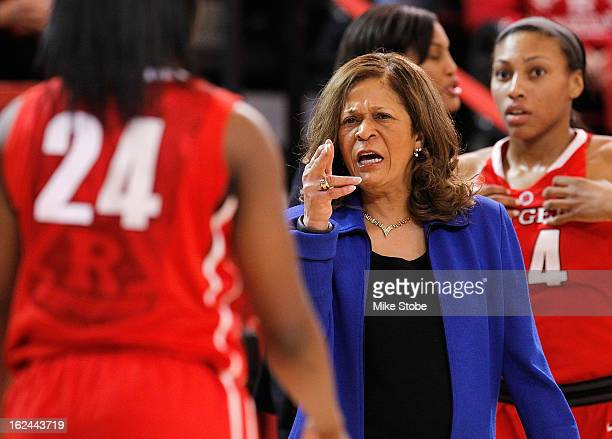 Head Coach C Vivian Stringer of the Rutgers Scarlett Knights reacts during the game against the St John's Red Storm at Carnesecca Arena on February...