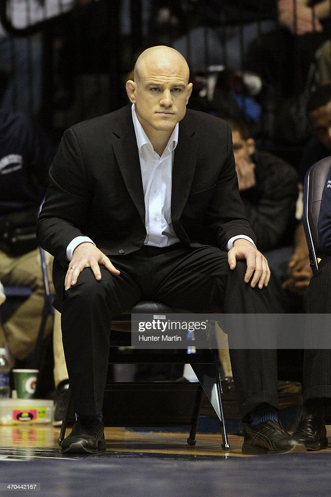 Head coach Cael Sanderson of the Penn State Nittany Lions during a match against the Oklahoma State Cowboys on February 16, 2014 at Rec Hall on the campus of Penn State University in State College, Pennsylvania. Penn State won 23-12.
