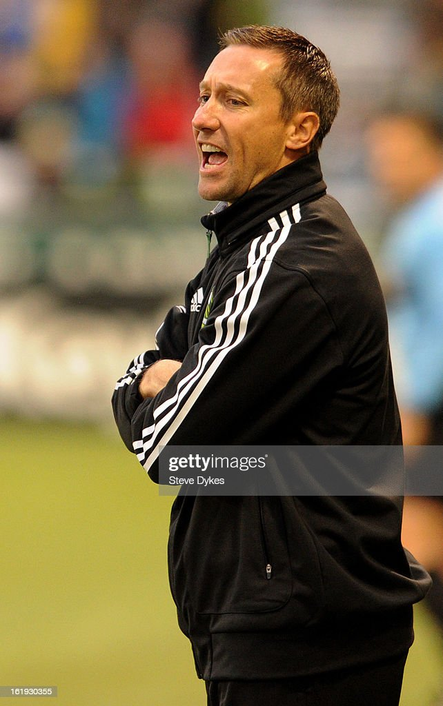 Head coach Caleb Porter of Portland Timbers yells out to his team during the first half of the game against the San Jose Earthquakes at Jeld-Wen Field on February 17, 2013 in Portland, Oregon.