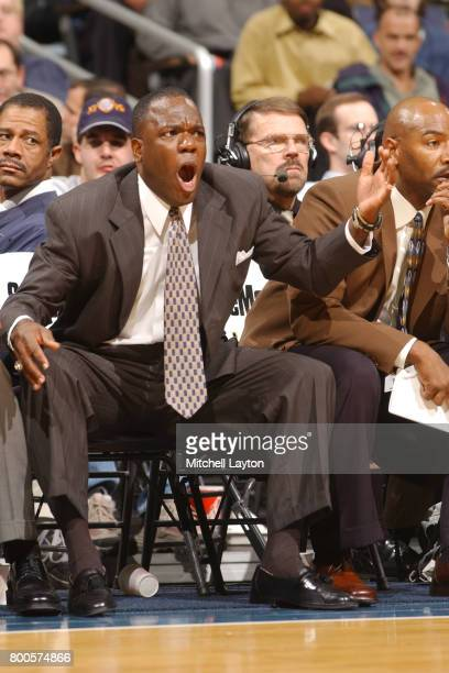 Head coach Carl Hobbs of the George Washington Colonials reacts to a call during the BBT College Basketball Classic game against the Princeton Tigers...
