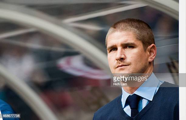 Head coach Carl Robinson of the Vancouver Whitecaps FC prior to MLS action against the Portland Timbers on March 28 2015 at BC Place Stadium in...