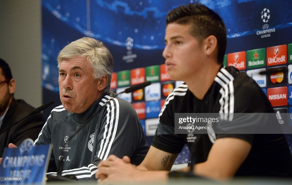 Head coach Carlo Ancelotti (R) and Attacking midfielder James Rodriguez (L) of Real Madrid holds a press conference after the team training session ahead of the UEFA Champions League Semi Final, Second Leg against Juventus at Valdebebas training ground on May 12, 2015 in Madrid, Spain.