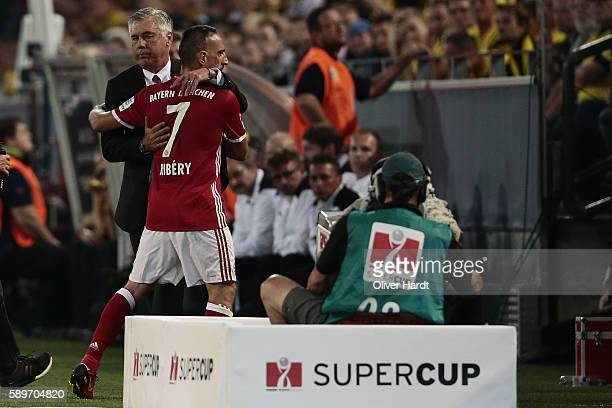Head coach Carlo Ancelotti and Franck Ribery of Munich during DFL Supercup 2016 match between Borussia Dortmund and FC Bayern Muenchen at Signal...