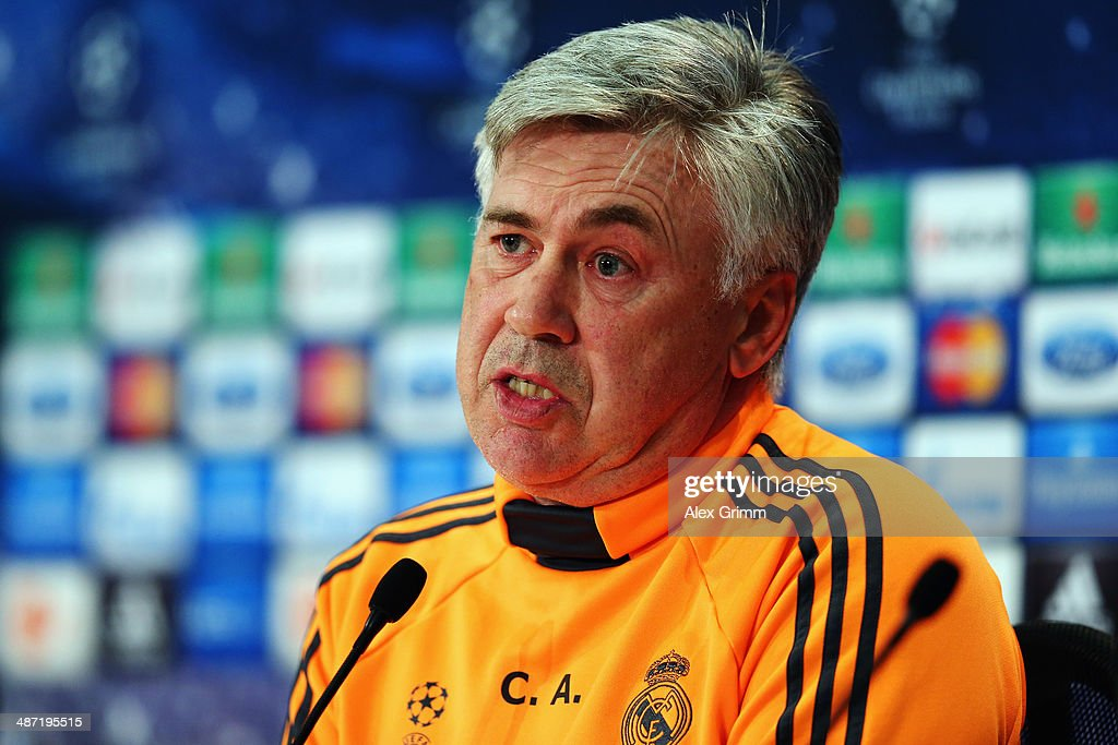 Head coach <a gi-track='captionPersonalityLinkClicked' href=/galleries/search?phrase=Carlo+Ancelotti&family=editorial&specificpeople=226747 ng-click='$event.stopPropagation()'>Carlo Ancelotti</a> attends the Real Madrid press conference ahead of their UEFA Champions League semi-final second leg match against FC Bayern Muenchen at Allianz Arena on April 28, 2014 in Munich, Germany.