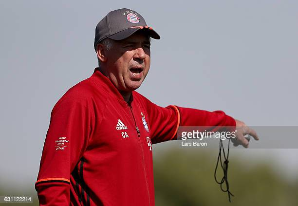 Head coach Carlo Ancelotti is seen during a training session at day 5 of the Bayern Muenchen training camp at Aspire Academy on January 7 2017 in...