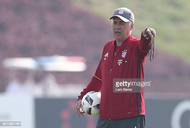 Head coach Carlo Ancelotti is seen during a training session at day 8 of the Bayern Muenchen training camp at Aspire Academy on January 10 2017 in...