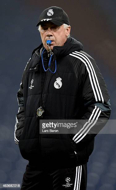 Head coach Carlo Ancelotti looks on during a Real Madrid training session ahead of their UEFA Champions League match against FC Schalke 04 at Veltins...