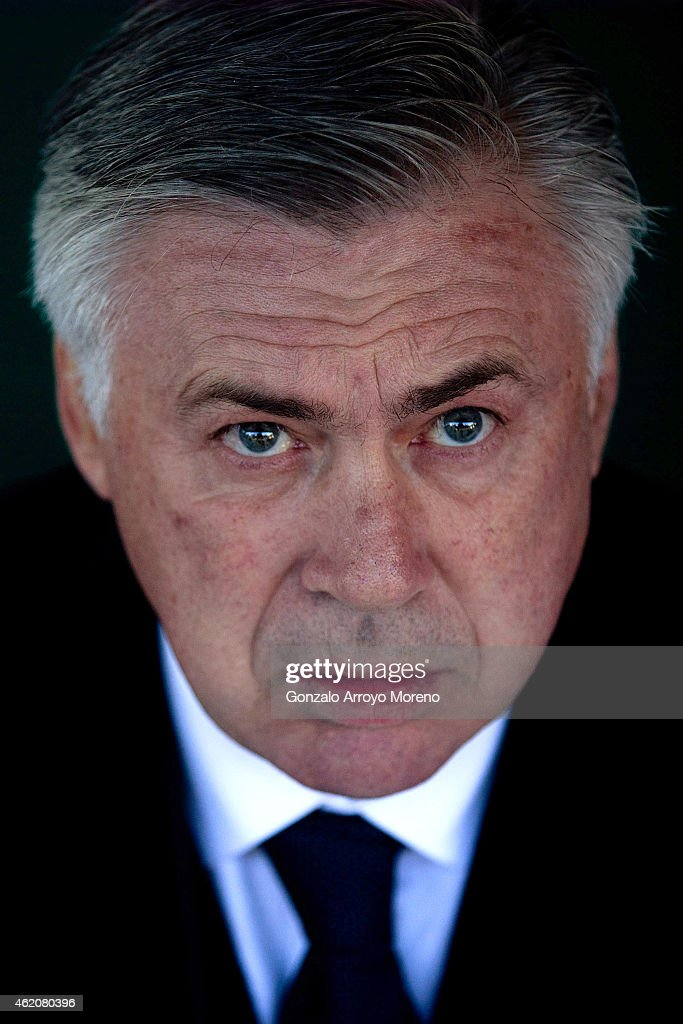 Head coach Carlo Ancelotti looks on sitted on the bench prior to start the La Liga match between Cordoba CF and Real Madrid CF at El Arcangel stadium on January 24, 2015 in Cordoba, Spain.