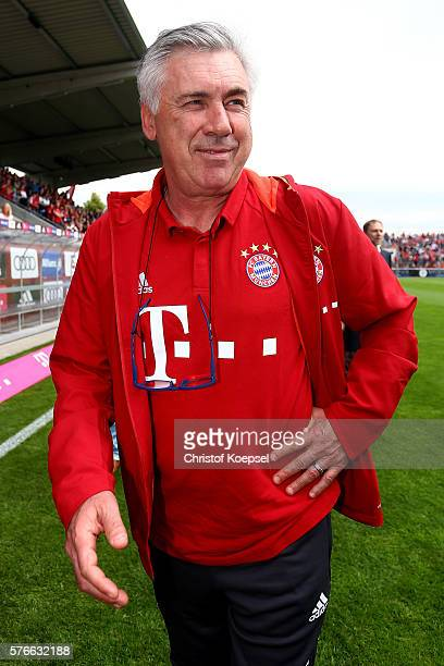 Head coach Carlo Ancelotti of Bayern Muenchen looks on prior to the friendly match between SV Lippstadt and FC Bayern at Stadion am Bruchbaum on July...
