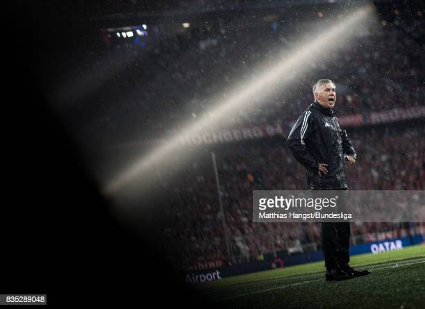 Head coach Carlo Ancelotti of FC Bayern Muenchen gestures during the Bundesliga match between FC Bayern Muenchen and Bayer 04 Leverkusen at Allianz...