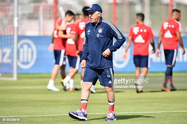 Head coach Carlo Ancelotti of FC Bayern Muenchen walks on the pitch during a training session at Saebener Strasse training ground on July 12 2017 in...