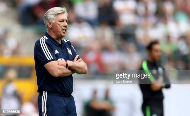Head coach Carlo Ancelotti of Muenchen is seen during the Telekom Cup 2017 Final between SV Werder Bremen and FC Bayern Muenchen at Borussia Park on...