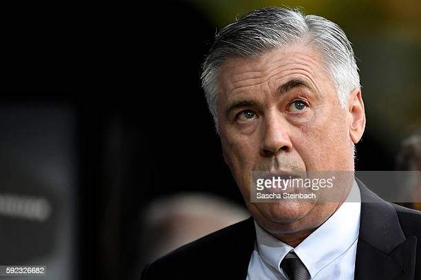 Head coach Carlo Ancelotti of Muenchen looks on during the DFL Supercup 2016 match between Borussia Dortmund and FC Bayern Muenchen at Signal Iduna...