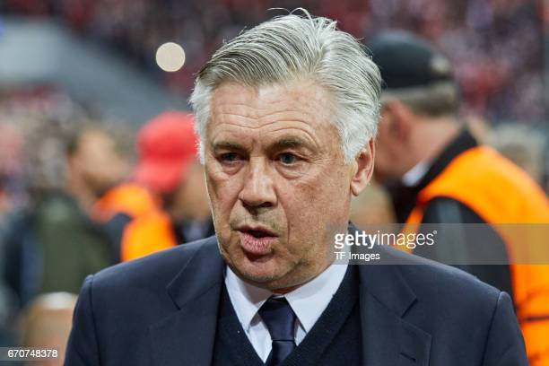 Head coach Carlo Ancelotti of Munich looks on during the UEFA Champions League Quarter Final first leg match between FC Bayern Muenchen and Real...
